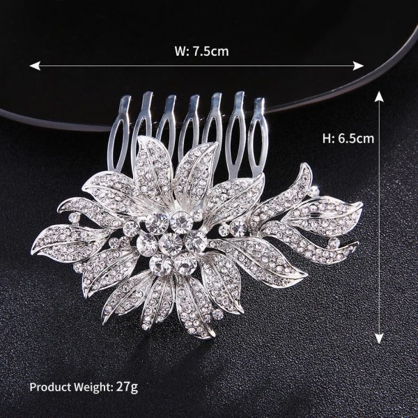 Silver Jeweled Sparkling Hair Comb