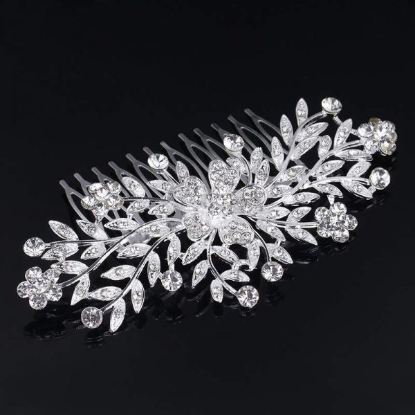 Silver Jeweled Hair Comb